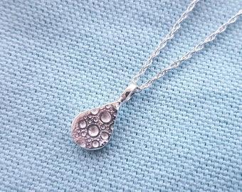 Silver teardrop pendant//solid silver necklace//sea urchin texture