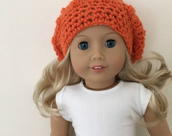 Lovely pumpkin coloured doll hat - ready for halloween! Fits 18 inch dolls such as American Girl, Our Generation. Doll hat. Halloween