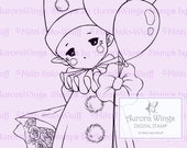Happy Pierrot Sprite - Aurora Wings Digital Stamp - Baby Clown with Balloons - Fantasy Line Art for Arts and Crafts by Mitzi Sato-Wiuff