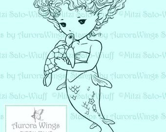 Digital Stamp - Sea Turtle Kiss - Little Mermaid Holding a Baby Turtle - Fantasy Line Art for Cards & Crafts by Mitzi Sato-Wiuff
