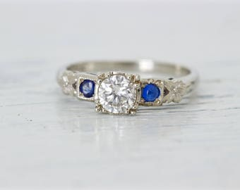 Vintage 1950s Sapphire and Diamond Engagement Ring | Mid Century 14k White Gold Ring | Botanical Jewelry | Nature Jewelry |Size 6.25 Sizable