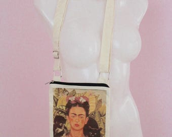 Autorretrato Frida Kahlo Bag/ Purse- Adjustable Strap- Famous Painting- Boho- Unique- Folk Art- Cotton- Gifts for Her-Manta-Fiesta-Amor-chic