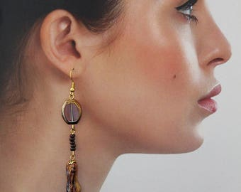 Long Wooden Earrings Tree Beaded Dangle Earrings Long Brown Earrings OOAK
