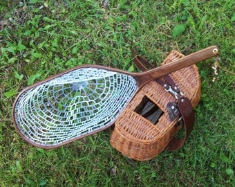 All Walnut handcrafted landing net with safety tether and choice of heavy duty rubber or traditional nylon netting