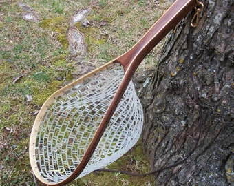 Walnut/Ash 2-Ply brook trout size flyfishing landing net with heavy duty  rubber netting