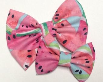 Watermelon Handmade Fabric Hair Clip or Headband Bows