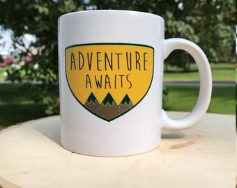 Adventure Awaits Mountains Crest Ceramic 12oz Coffee Mug Glassware Gift