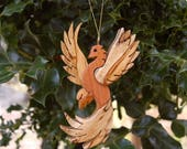 PHOENIX CHRISTMAS ORNAMENT Carving.  A legendry winged creature, mystical bird of flames ornament for your holiday tree.
