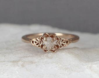 Rose Gold Celtic Knot Uncut Diamond Ring