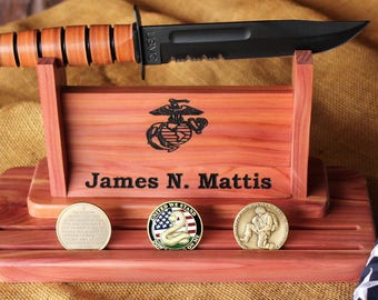 Personalized Marine Corps Ka Bar Knife Stand With Challenge Coin Display Made Of Solid Wood With EGA - Keepsake USMC Gift - Dual Display