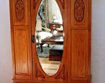 Antique Wardrobe Closet Carved Golden Oak Cedar Lined Beveled Mirror locking Insured safe Nation Wide Shipping Available