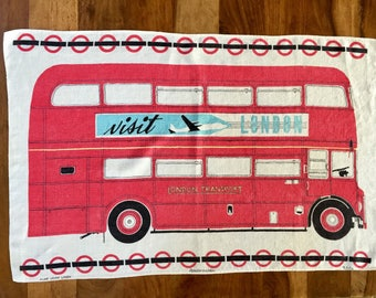 Vintage Pure Irish Linen Dishtowel London Transport Routemaster by Ulster