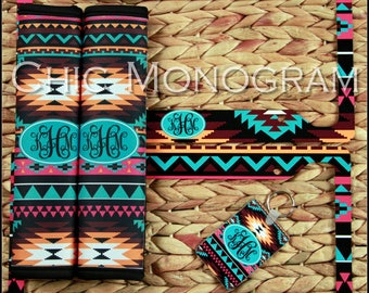 License Plate Frame Seat Belt Covers Key Chain Set Aztec Tribal Monogrammed Gifts Personalized Custom Cute Car Accessories For Women