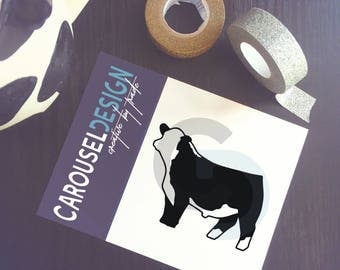 Show Cattle Hereford Bull Vinyl Sticker