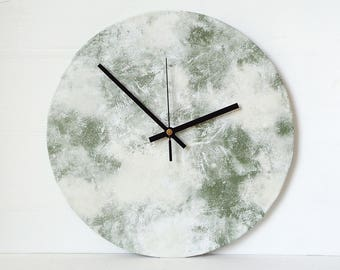 Marbled Wall Clock - Faux Marble Clock - White and Green Clock - Recycled Vinyl Record Clock - Minimalist Clock - Vinyl Marble Effect Clock