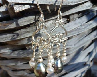 Tahitian pearls on sterling silver, earrings for women, chandelier earrings