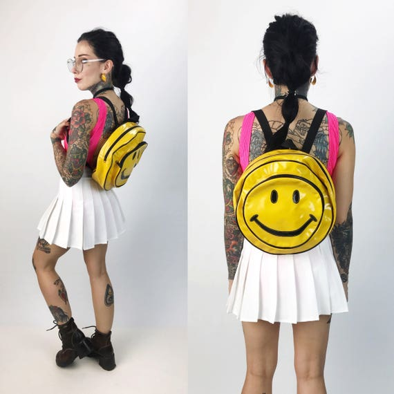 90's Yellow Vinyl Smiley Face Backpack - Yellow Grunge 1990's Round Backpack Purse - Happy Face Purse PVC Smiley Backpack - Round Smiley Bag