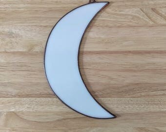 Stained Glass Crescent Moon in White (#269)
