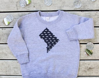 Washington, DC Toddler Sweatshirt - DC Kids Crew Neck  - ANY State Available Upon Request + Many More Fabric Options!
