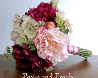 "Pink Peony Bridal Bouquet, Light Pink, Fuchsia, and Ivory Hydrangea, Silk Wedding Flowers, Bride or Bridesmaids, ""Breathless"""