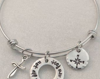 Not All Who Wander Are Lost - Expandable Bracelet - Charm Bracelet - Statement Jewelry - Graduation Gift - Compass Jewelry - Inspiration