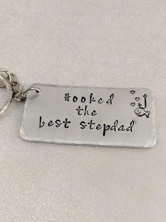 Hooked the Best Stepdad-Stepdad Gift-Fishing Keychain-Christmas Gift for Stepdad-Stepdad Keychain-Stepdad Wedding Gift- Ready to Ship