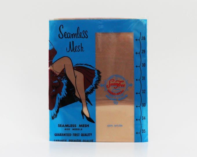 Vintage 1960s Seamless Mesh Stockings - Size 10
