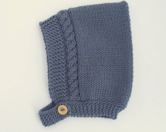 Cable Knit Baby Pixie Hat in Charcoal Grey