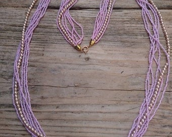 Vintage pink Pearl and seed bead 7 strand necklace