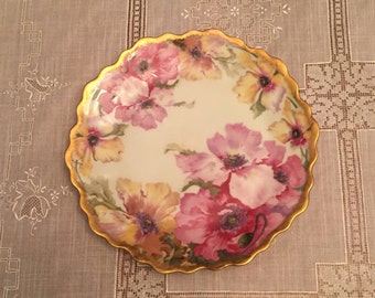 Free Shipping Antique Royal Munuch Antique/Vintage Collectible Plate China Handpainted Pink Yellow Flowers  Gold Scalloped t
