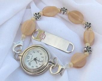 Medical ID Alert  or Watch Stretchy Bracelet Interchangeable Bracelet