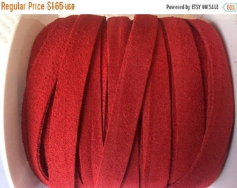 """Per 8"""" Red Suede  10mm Flat Cord,"""