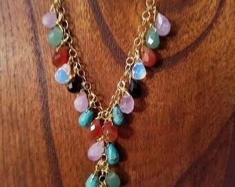 Semi Precious Stone Cluster Necklace