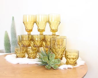 Yellow Glassware Set of 16 Goblets Amber Wine Glasses and Whiskey Glasses