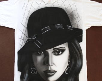 Custom Airbrush T-Shirt portrait jessica alba sin city film noir single item L