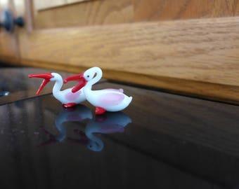 Vintage Glass Ducks/ Miniature Figurines/ Mini Glass Ducks/ Tiny Animals/ Miniature Glass Animals/ Funky Glass Ducks