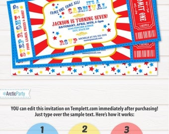 Carnival Invitations - Carnival Theme Party - Carnival Birthday Invitation - Carnival Ticket - Carnival Party - INSTANT ACCESS - Edit NOW!