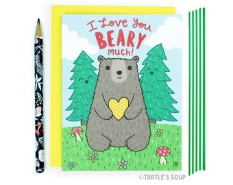Bear Card, Anniversary Card, National Parks, Forest Animal, Picnic, Boyfriend Card, Nature Lover Gift, Outdoorsy Gift, Card For Him, Cute