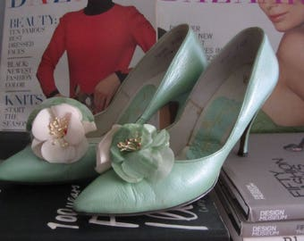 1950s mint green stiletto heels | 50's 60's Mid Century MCM Old Hollywood