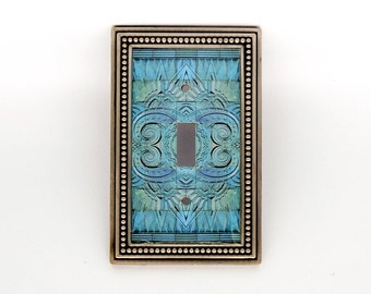 Art Deco Tile Motif Light Switch Cover, Altered Image Tile Light Switch Plate, Deco Light Switch Plate, Switchplate Art, Turquoise Wall Art
