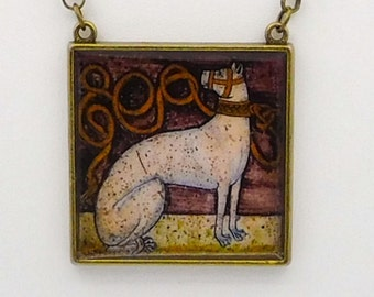 Renaissance Dog Statement Necklace, Square Palace Tile Painted Dog Pendant Necklace in antique brass with rolo chain and lobster claw clasp