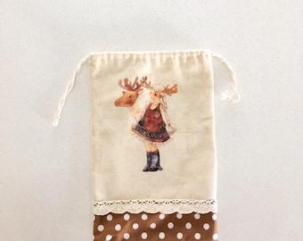 Handmade drawstring bag/pouch deer and girl