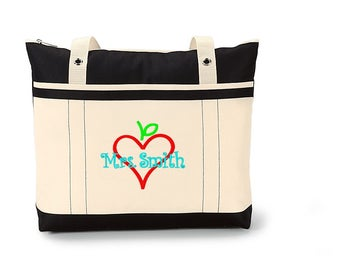 Free Shipping - Personalized Teacher Tote Bag - Apple Books - More Colors - monogrammed school bag teacher gift