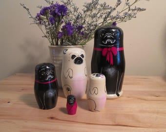 Hand-Painted Pug Matryoshkas, Nesting Dolls