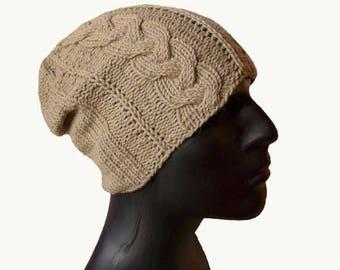 Mens Knit Hat, Mens Hat, Alpaca, Silk, Yak, Men's Beanie, Beanie Hat, Knit Hat, Cable Knit, Natural Fiber