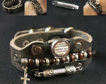 Cross Bracelet with Christian Biblical Inscriptions - Prayers and Blessings
