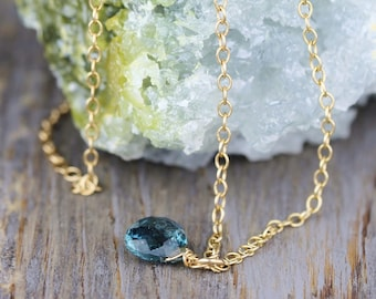 Delicate Moss Kyanite Necklace in Sterling Silver, Yellow or Rose Gold Filled, Natural Teal Blue Gemstone Necklace, Faceted Kyanite Jewelry