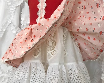 RTS One of a Kind Size 3 Party Dress. Red, Pink and White embellished dress.