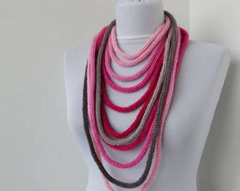 20% OFF SALE -Knit Scarf Necklace, Loop scarf, Infinity scarf, Neck warmer, Knit scarflette, in fushia pink gray E157