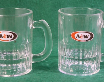 Vintage pair of A & W 4 oz sampler size root beer mugs - Breweriana